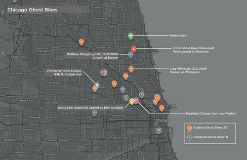 Chicago Ghost Bikes Map