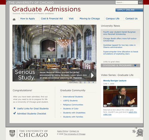 UChicago Graduate Admissions: home page