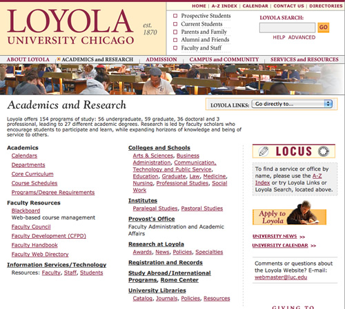 Loyola University Chicago: inner page