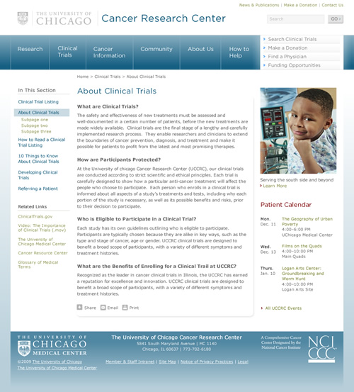 UChicago Cancer Research Center: inner page