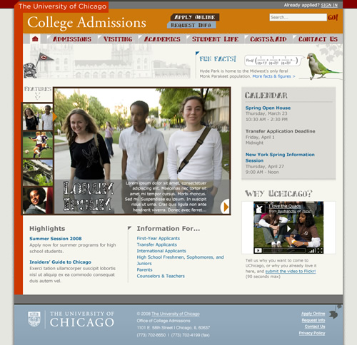 UChicago College Admissions: home page